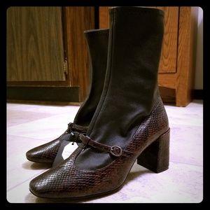 Zara Shoes - Zara mary jane brown snake leather sock boots